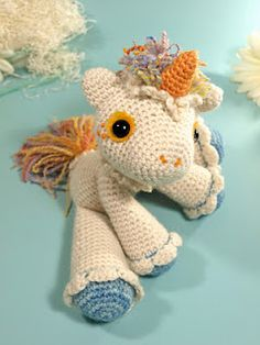 This is by far the best unicorn pattern I've ever seen. It's pretty simple to follow, and it turns out absolutely adorable. It's a little bigger than you'd first expect, though.