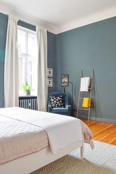 Walls painted Inchyra Blue by Farrow & Ball Blue Bedroom, Modern Bedroom, Bedroom Wall, Bedroom Decor, Bedroom Ideas, Bedroom Lighting, Bedroom Designs, Asian Bedroom, Bedroom Chandeliers