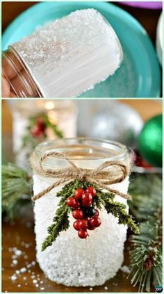 DIY Christmas Mason Jar Lighting Crafts [Instructions]:different ways to make mason jar lights for mantel, dinning table and wall holiday decoration. Mason Jar Projects, Mason Jar Crafts, Mason Jar Diy, Pots Mason, Christmas Mason Jars, Christmas Crafts, Christmas Decorations, Tree Decorations, Christmas Ideas