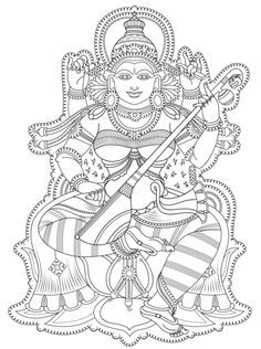 "iColor ""Goddesses"" Kerala Mural Coloring page"