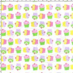 Tecido Estampado para Patchwork - Cupcake Solo Branco (0,50 x 1,40)