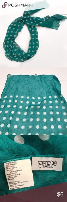 Polka Dot Scarf Polka dot scarf. Teal with white polka dots. Sheer material. 100% polyester. Charming Charlie Accessories Scarves & Wraps