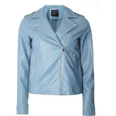 Dorothy Perkins Light Blue PU Biker Jacket ($89) ❤ liked on Polyvore featuring outerwear, jackets, blue, pu jacket, pu biker jacket, biker jackets, rider jacket and polyurethane jacket