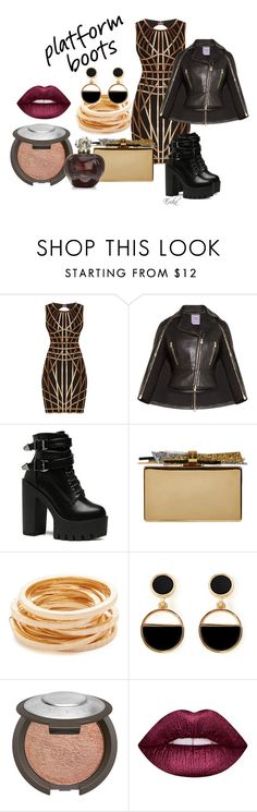 """""""24K Magic"""" by equiscriminal on Polyvore featuring Hervé Léger, Edie Parker, Kenneth Jay Lane, Warehouse, Becca, Lime Crime, Christian Dior and PlatformBoots"""