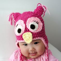 MAKE IN PURPLE FOR LEILA SHOES Girly Owl Hat Crochet Baby Hat Owl Hat Baby Hat by stylishbabyhats, $22.99