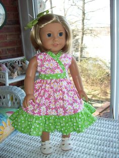 Fits American Girl doll or 18 inch doll. Pink daisy by ASewSewShop