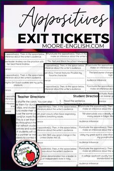 This is a set of 24 exit tickets that ask students to do two things: correctly punctuate an appositive and then make an inference about the writer's audience based on that appositive.Since we live in a digital world, the entire set is available in Google Slides. This means the cards are 100% editable and ready for you to customize, so if you only want to focus on appositives or on audience awareness, you can delete the part(s) that don't work for your students. Vocabulary Instruction, Teaching Vocabulary, Teaching Grammar, Grammar And Vocabulary, Middle School Ela, Middle School English, Middle School Teachers, Ticket Printing, Data Binders