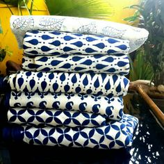 """Our craftsmen experimented with indigo colour in handstamp design  achieving """"white Indigo fabric"""". This is a great discovery in handmade textile industry #jaipurbagruprint or #jaipurblockprint #fabric."""