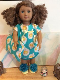 Nightgown With Matching Pillow And Slippers Handmade ,Fits All 18 Inch Dolls…