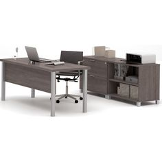 The table features a durable commercial grade work surface with melamine finish that resists scratches, stains and wears. The 2-shelf bookcase and the lateral file feature a durable commercial grade top surface with melamine finish. Fully assembled, the lateral file offers two file drawers with letter/legal filing system. Drawers on ball-bearing slides for smooth and quiet operation. One lock secures both drawers. The 2-shelf bookcase has two shelves, one of which is adjustable. The tabl...