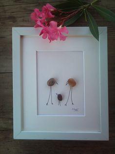 Pebble art Family, pebble art gift, Family art, anniversary gift, wedding gift, pebble art wedding, home decor