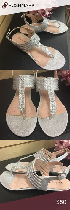 Formal Flat Silver Sandals For Wedding Leather Diamante