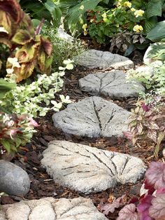 The Right Steps~  It's only natural to enhance your garden with leaf-shape stepping-stones. A large rhubarb leaf was used as a guide for sculpting these stepping-stones and completed a pretty, sure-footed path through the garden in a couple of hours. Resulting in a total cost of less than $20.  Follow the pictures for the full tutorial!   http://www.bhg.com/decorating/do-it-yourself/accents/cast-in-stone/#page=3