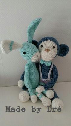 Aap Bengel en konijn Snuf...leuk paar #stipenhaak