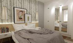 Wzorzysta ściana w aranżacji sypialni
