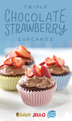 Triple Chocolate-Strawberry Cupcakes? That's right. Triple. Chocolate. Strawberry. Cupcakes. Start with JELL-O, COOL WHIP, and BAKER'S and your triple-the-taste dessert will be ready to enjoy in no time.