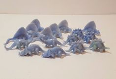 Vtg Ajax 1950s Dinosaurs Plastic Figures Blue Dimetrodon Stegosaurus Triceratops #Ajax