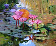 Water Lilies Painting - It Is Only A Dream by John Lautermilch Water Lilies Painting, Lily Painting, Dream Painting, Landscape Drawings, Watercolor Landscape, Monet Paintings, Art Studies, Beautiful Paintings, Painting Inspiration