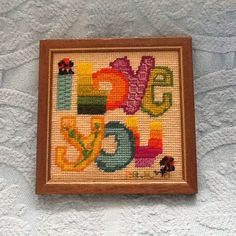 Vintage embroidered embroidery I love you 1970s framed by hmmosko