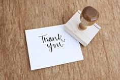 Calligraphy Thank You Rubber Stamp. $24.00, via Etsy.