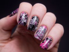 Pink Splatterday Saturday  OPI Did You Ear About Van Gogh? (base)OPI My Boyfriend Scales WallsOPI If You Moust You MoustOPI Black Onyx