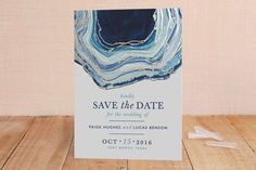 Gilt Agate - Foil-pressed Save The Date Cards in Navy by Kaydi Bishop.