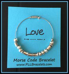 "Morse Code Silver Bangle Bracelet ""Love"""