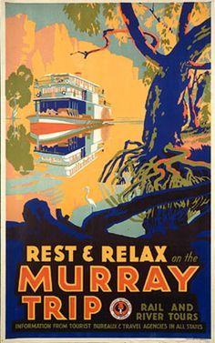 Australia vintage travel poster Murray River
