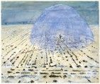 Part of a series of watercolors related to the photographs Kiefer staged in 1969 reenacting the Nazi salute, Everyone Stands Under His Own Dome of Heaven re-imagines the now-miniscule figure of the artist in a green military coat in the midst of a vast, snow-dusted field