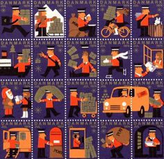 Danish Christmas stamps from 1974 Danish Christmas, Vintage Christmas, Postage Stamp Design, Tiny Prints, Love Stamps, Vintage Stamps, Illustrations, Mail Art, Stamp Collecting