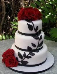 Resultado de imagen para red black and white wedding cakes