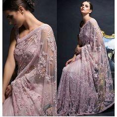 Designer Nylon Mono Net Saree in Light Pink Trendy Sarees, Stylish Sarees, Fancy Sarees, Net Saree Designs, Silk Saree Blouse Designs, Lace Saree, Pink Saree, Gown Party Wear, Designer Sarees Wedding