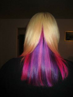 This is a neat way to do multicolored hair...underlayers! (Tiffanie Cameron via Splat Hair Color)