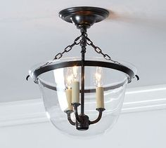 Hundi Semi-Flushmount #potterybarn. Look-a-like for much cheaper found at: http://www.jojospring.com/antique-copper-finish-glass-lantern-flushmount-chandelier-l835-p-352.html