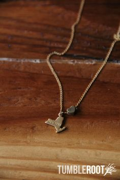 TumbleRoot state love brass charm necklace - $16 I want one for Indiana and Arkansas wouldn't that be cute then I would always have him close
