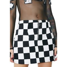 American Vintage Checkered Denim Skirt ($130) ❤ liked on Polyvore featuring skirts, mini skirts, white mini skirt, zipper skirt, checkerboard skirt and zip skirt