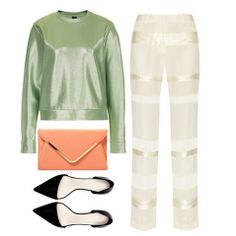 Color combinations to try #ootd #fashionlooks Pistachio green with cream and metallic cream and accents of coral and black