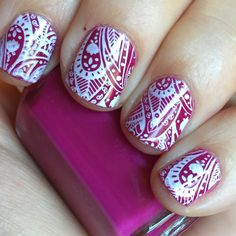 Trimmed my nails down to cut off all the flaking   Essie Big Spender stamped with my Born Pretty Store marshmallow stamper, Messy Mansion paisley plate, and Konad White.