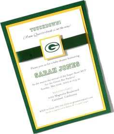 Custom Green Bay Packers Football NFL Baby Shower Birth Announcement Birthday Invitation. $3.00, via Etsy.....OMG so cute:)