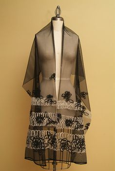 FREE DOMESTIC SHIPPING Elegant Black Tulle Shawl with by Olimpias, $125.00