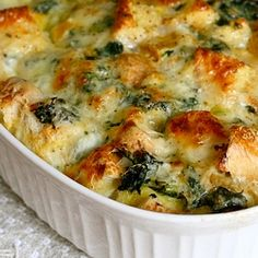 Spinach and Cheese Strata - a delicious make-ahead contribution to brunch.