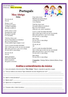 Meu Abrigo - Análise e entendimento da letra música Professor, Back To School, Texts, Presentation, Messages, Portugal, Instagram, Poetry Activities, Writing Activities