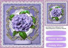 Beautiful Llilacroses on a lace Frame  on Craftsuprint designed by Ceredwyn Macrae - A lovely card to make and give with  Beautiful lilac roses…