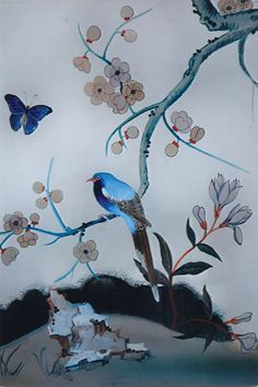 Chinoiserie Wallpaper with Birds   Chinoiserie Compositions, Chinoiserie Murals, Chinoiserie, Trompe l ...