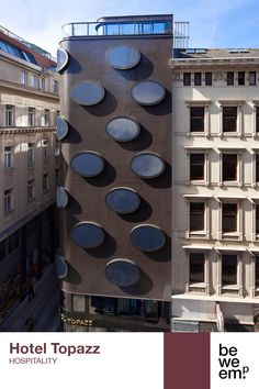 PROJECT_Hotel Topazz DEPARTMENT_Hospitality LOCATION_Vienna  Image: ©Lenikus Mosaic Glass, Vienna, Hospitality, Facade, Multi Story Building, Windows, Architecture, Projects, Image