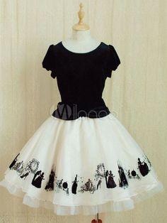 Black Short Sleeves Velvet Lolita One-Piece