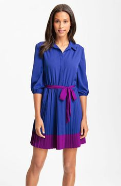 Eliza J Pleated Colorblock Crepe de Chine Shirt Dress