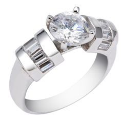 16879c5d44bf 4MM Sterling Silver Ring With 7MM Round Cubic Zirconia and Baguette Shape  Side Stones - Anillos