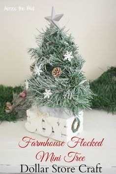 Making table top trees is a fun way to spread holiday decor throughout your home. This farmhouse snowy mini tree is not only easy to put together and it's inexpensive, too. Dollar Tree Christmas, Christmas Tree Crafts, Mini Christmas Tree, Christmas Projects, Christmas Decorations, Christmas Things, Handmade Christmas, Christmas Ideas, Christmas Ornaments