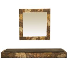 Paul Evans Patchwork Floating Shelf and Mirror USA Circa 1970s - Todd Merrill